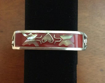 Silver with red and mother of pearl butterfly inlay bracelet
