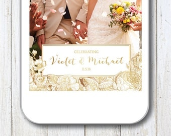 Gold Snapchat Filter, Snapchat Geofilter, Wedding Snapchat Filter, Wedding Geofilter, Floral, Flowers, Gold, Gold and White, Garden Wedding