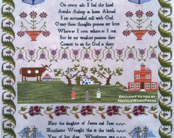Mary McCallester 1824 Reproduction Sampler by Needlework Press Counted Cross Stitch Pattern/Chart