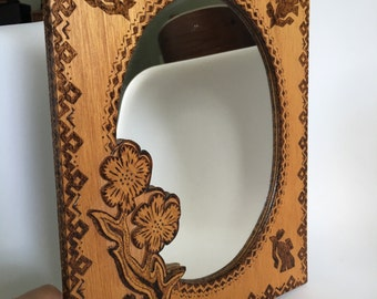 Vintage wood burned hand made aztec mirror
