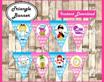 Alice in Wonderland Banner, printable Alice in Wonderland party Banner, Alice in Wonderland triangle Banner