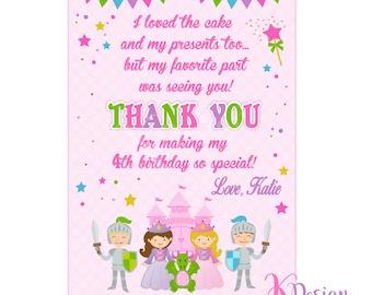 Princess Thank You Card, Princess Thank You Note, Princess Birthday, Princess Party, Printable Thank You Card