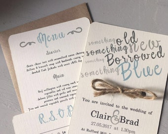 Personalised wedding invitation package - Something blue