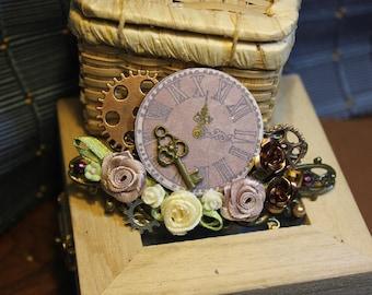 Hairpin clip hair steampunk rose key Barrette