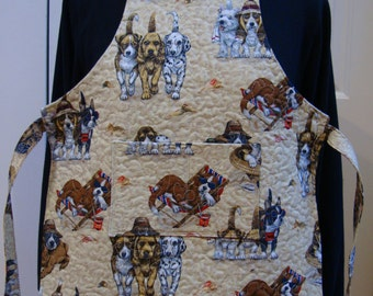 Puppies at Play--Child's Quilted Apron