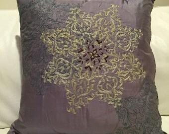 Hand embroidered Silk zardozi, aari ,thread luxury, decorative pillow. 16x16  Hidden zipper for easy care