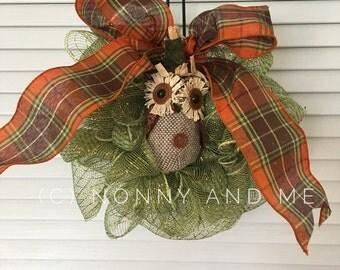 Fall Owl Wreath (small)