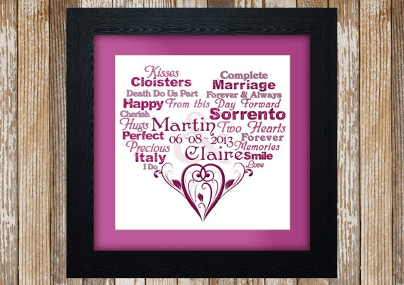 Heart Shape with graphic elements - Word Art Print