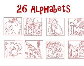 Redwork Alphabet Machine Embroidery Design Pack, PES Format, Red workAlphabet Embroidery Design