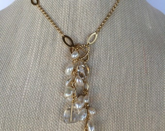 Freshwater Pearls & Quartz Crystal Lariat Necklace