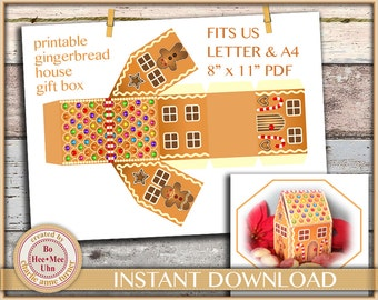 DIY Gingerbread house gift box printable digital instant download