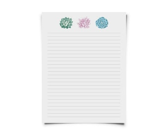 Succulent Printable Stationary Set for Letters & Snail Mail