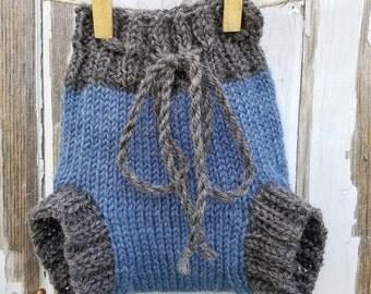 Gray & Blue Wool Soaker Cloth Diaper Cover (newborn)