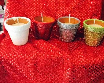 Mini flowerpot candles