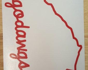 UGA Georgia Ga Bulldogs Dawgs Vinyl Decal State Outline Border