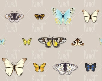Pattern with butterflies, digital clip art. Instant Download.