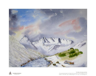 Limited edition giclee print (50), of my watercolour painting of Glen Shiel in Winter, Scottish Highlands, Size is 500mm x 400mm, Great gift