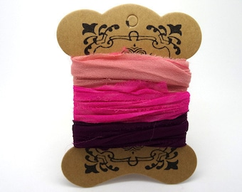 """Sari Silk Ribbon recycled your gradient of pink """"ts005"""""""