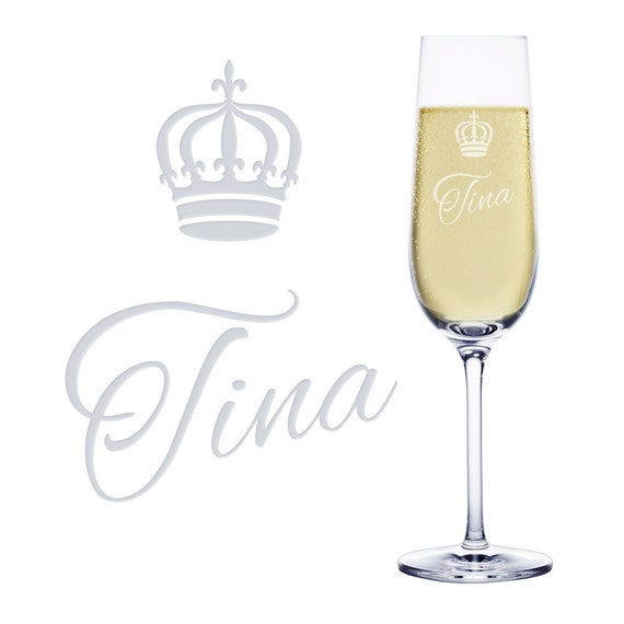 "Champagne Flute ""Crown""– With Engraving - Personalised with Name"