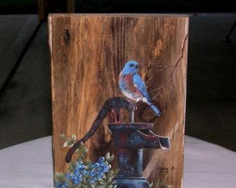 Blue Bird Painting on Hand Pump