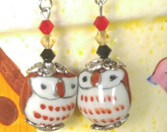 Porcelain Owl Earrings with 4mm Crystal Gems