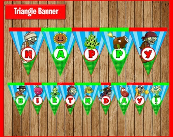 Plants vs Zombies Triangle Banner instant download, Printable Plants vs Zombies party Banner, Plants vs Zombies Banner