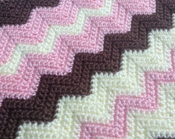 Children's Striped Chevron Designed Crochet Blanket In Pink, Brown and Cream