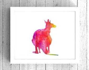 Kangaroo Watercolor Art Print - Printable Marsupial Artwork - Wall Art Prints, Kangaroo art print, Kangaroo wall art, Rainbow Kangaroo