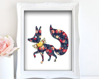Fox Art Print - Instant Download / Fox floral art, fox wall art, fox painting, fox art, abstract fox art, flower fox poster, fox home decor