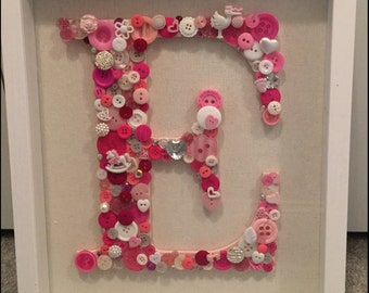 Nursery Wall Art, Button Letter E in Shadowbox Frame, Pink Button Art, Wall Art for Baby, Nursery Decor