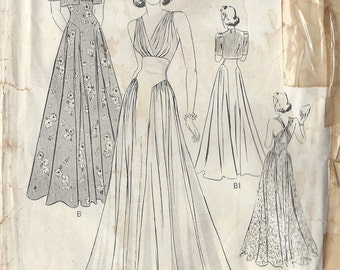 "1940s Vintage Sewing Pattern DRESS & JACKET B34"" (R249) Butterick 8443"