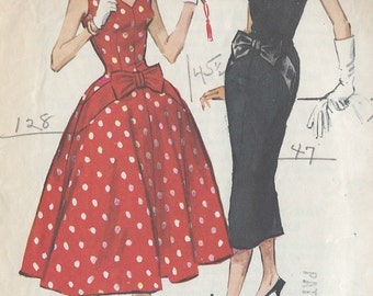 1958 Vintage Sewing Pattern B33 DRESS (R881) McCall's 4483