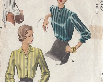 """1944 Vintage Sewing Pattern BLOUSE B32"""" (R459) McCall 7526"""
