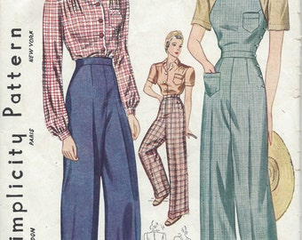 1940 Vintage Sewing Pattern B36-W30 BLOUSE-TROUSERS-OVERALLS (R807)  Simplicity 3322