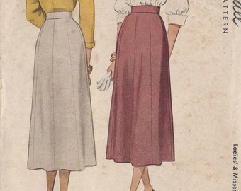"""1948 Vintage Sewing Pattern W26"""" SKIRT (R288) McCall 7338"""