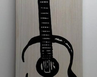 Custom Rustic Guitar Hand Painted on Whitewashed Wood