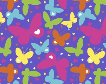 New! Rainbow Butterflies Anti-Pill Fleece fabric by the yard /David Textiles/Free shipping available/girls fabric/butterfly fabric