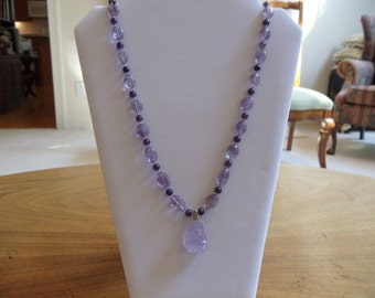 Carved Amethyst bead necklace with carved Amethyst Peony pendant, with matching earrings and bracelet