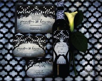 Enchanted Invitation and Wine Label - sample set