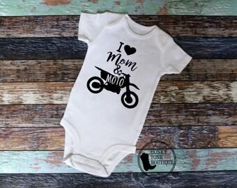 I Love Mom & Moto Baby Bodysuit, Moto Baby, Dirt Bike Baby, Motocross, Country Baby