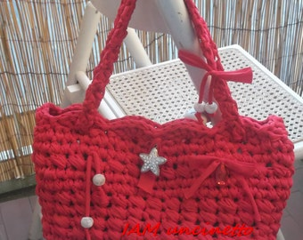 Crochet bag strap red spandex with charms