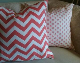 Salmon chevron pillow cover, chevron pillow, salmon pillow, salmon and white, salmon chevron, pillow cover, accent pillow, decorative pillow