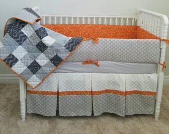 Gray and Orange Crib Set