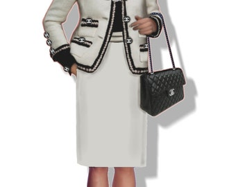 Chanel suit, 5 patterns in 5 sizes, A4 PDF files