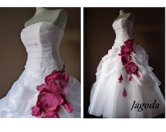Organza and tulle  wedding dress, with hand made flowers