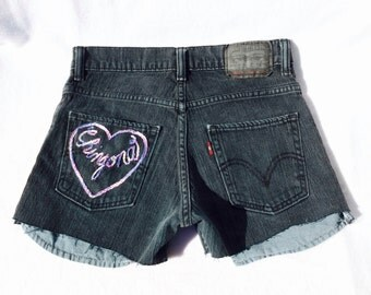 "The ""Chingona"" (The Shit) Hand Embroidered Denim Shorts"