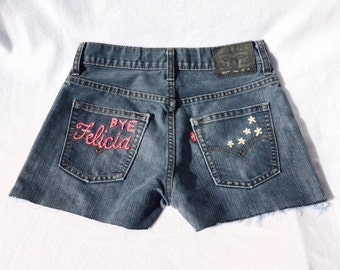 "The ""Bye Felicia"" Hand Embroidered Denim Shorts"