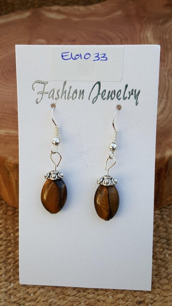 Brown Yellow Tigers Eye Stone Earrings / Tigers Eye Earrings / Dangle Earrings / Hippie Earrings / Boho Jewelry /E61033