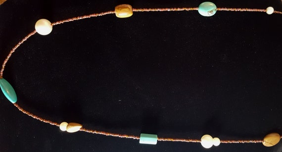Turquoise Tan Jasper Long Necklace / Pictured Jasper and Turquoise and Pearl Necklace / Hippie Necklace / Boho Jewelry /NS61014