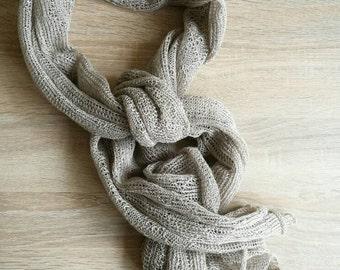 Knitted Linen Scarf Dark Beige Linen Scarf